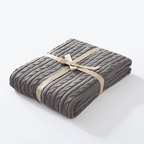 knitted throw blanket grey cotton