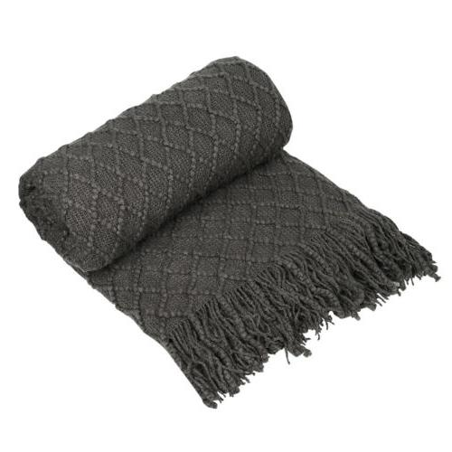 Knitted Throw Blanket Textured Solid Soft Sofa Couch Cover D