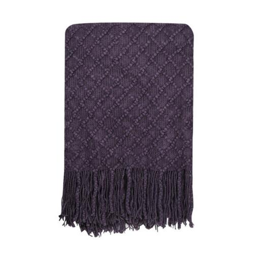"Knitted Throw Solid Soft Cover 50"" w/"