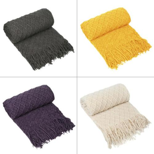 knitted throw blanket textured solid soft sofa