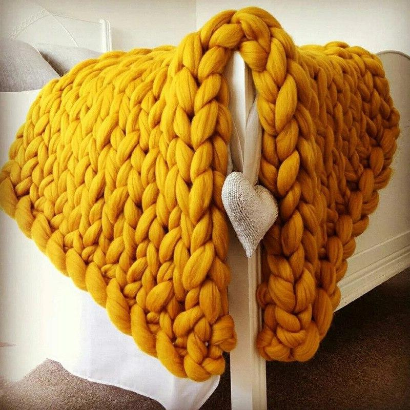 Knitting <font><b>Throw</b></font> <font><b>Knitted</b></font> Chunky Soft Wool Thick Yarn Bulky <font><b>Throw</b></font>