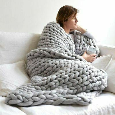 Chunky Knitted Thick Blanket Winter Warm Hand Yarn Merino Bu