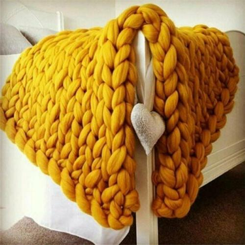 Large Warm Chunky Knit Blanket Line Throw