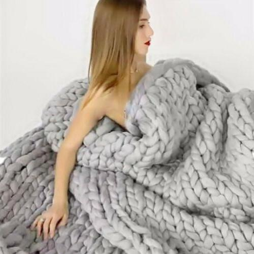 Large Chunky Knit Blanket Line Bulky Throw