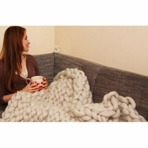 Large Warm Chunky Knit Blanket Line Bulky Throw
