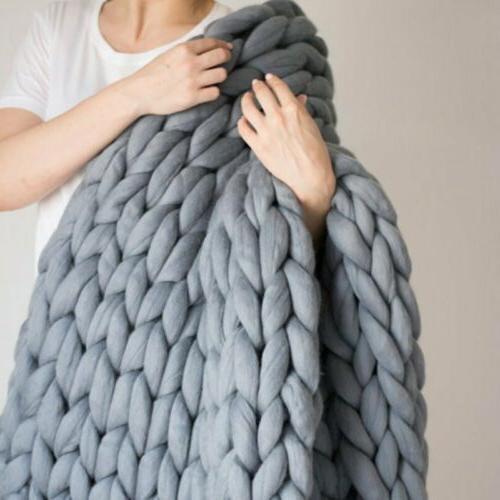 Large Warm Handmade Chunky Knit Blanket Line Yarn Throw