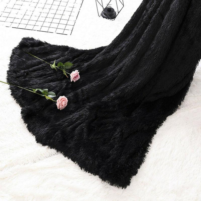 Large Soft Faux Blanket Blanket Black