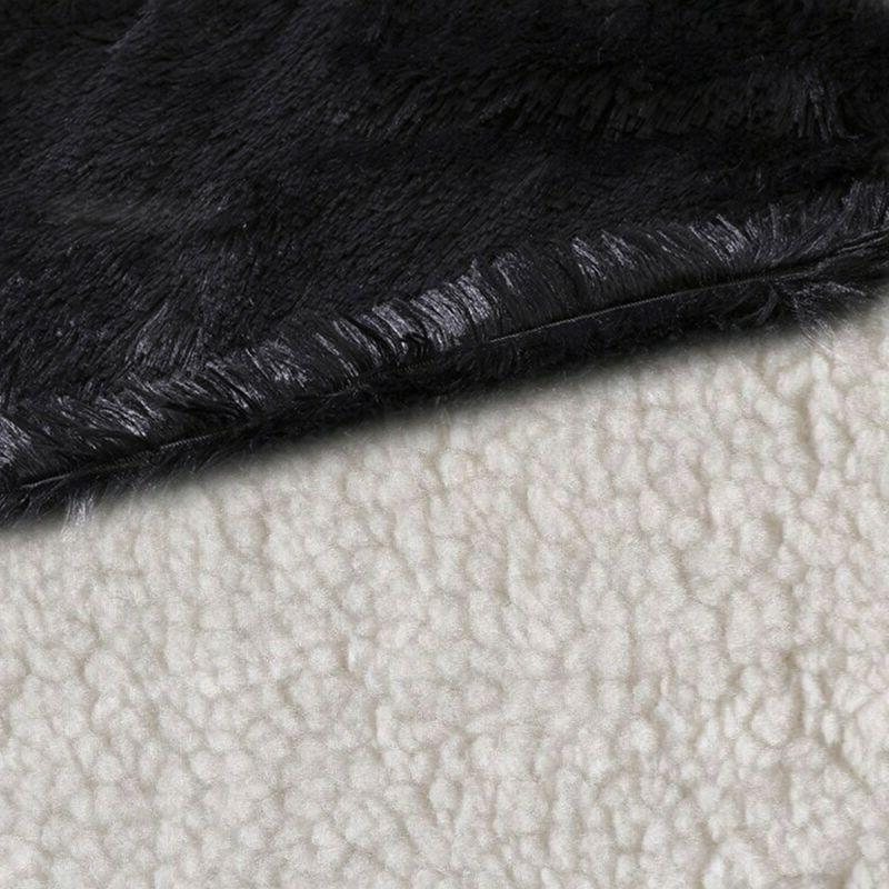 Large Shaggy Faux Sofa King Bed Blanket Black