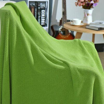 Large Cotton Blanket Knit Throw Bed Decorative