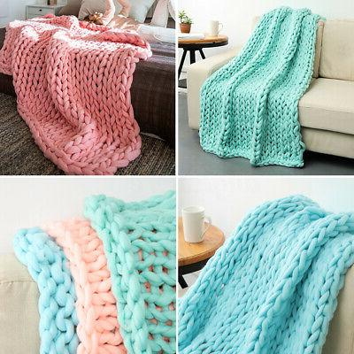 MECO Large Chunky Knit Blanket Bulky Knitted Throw