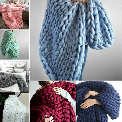 MECO Warm Chunky Knit Blanket Thick Bulky Knitted Throw