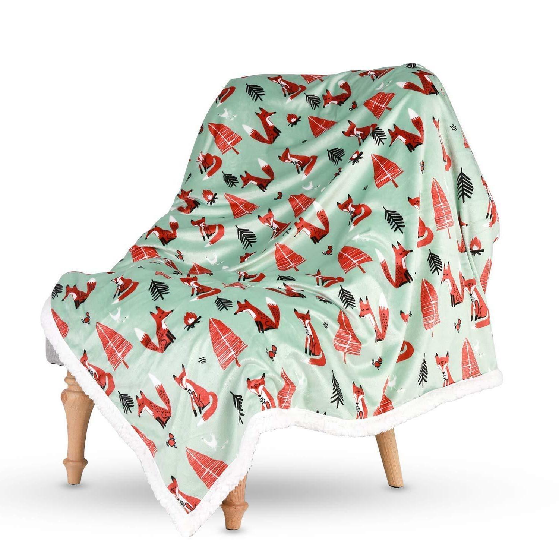 "Lavish Home Fleece Sherpa Super Soft Blanket Throw 50""x60"" Minky Blanket"