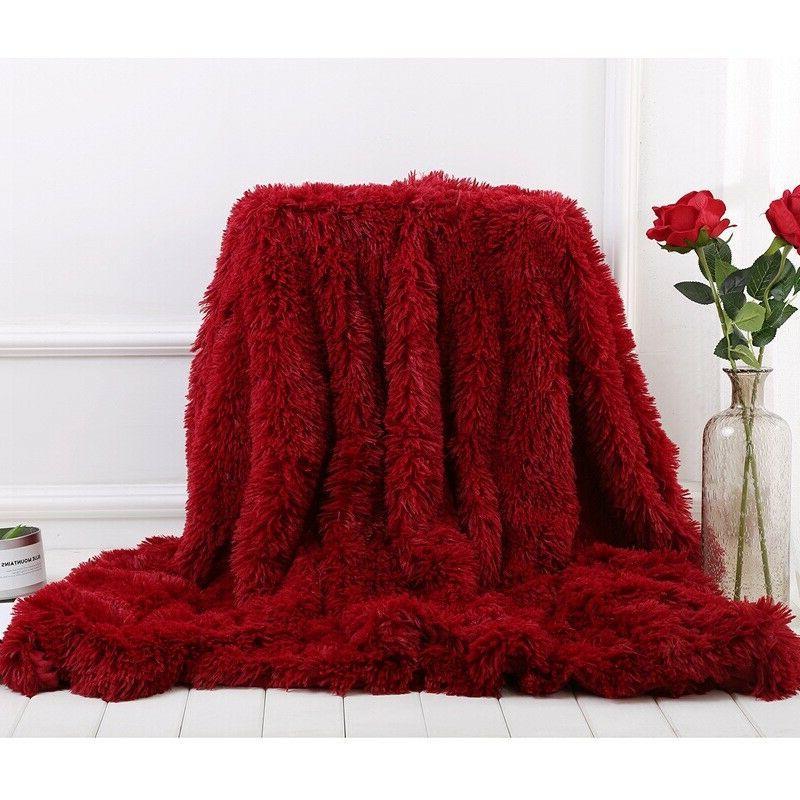 Long Faux Fur Fluffy Fuzzy Blanket