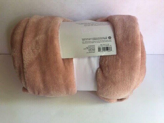 "Room Plush Throw Blanket Peach White x 60"""