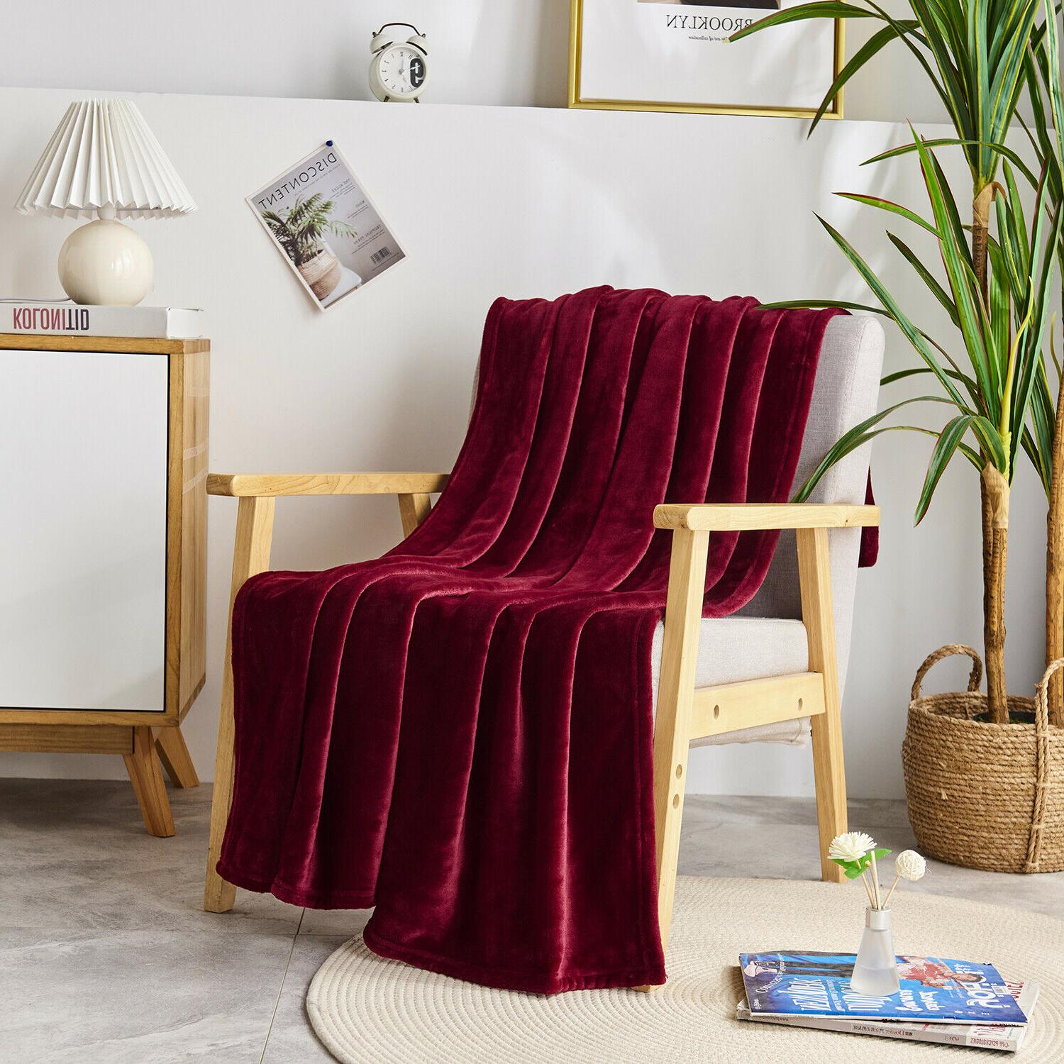 "Luxurious Fleece Blanket 50"" x - Burgundy"