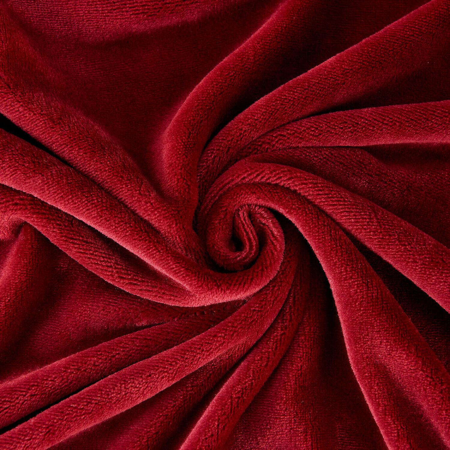 "Luxurious Plush Throw Blanket Soft 50"" 60"" Burgundy"