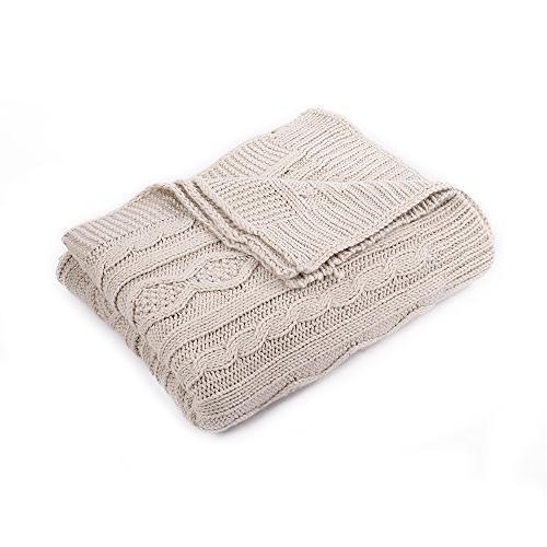 battilo Knit Sofa/Chair/Bed Throw Blanket, Light