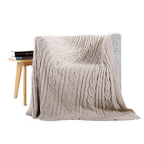 "battilo Cable Knit Sofa/Chair/Bed W X 60"" Light Gray"