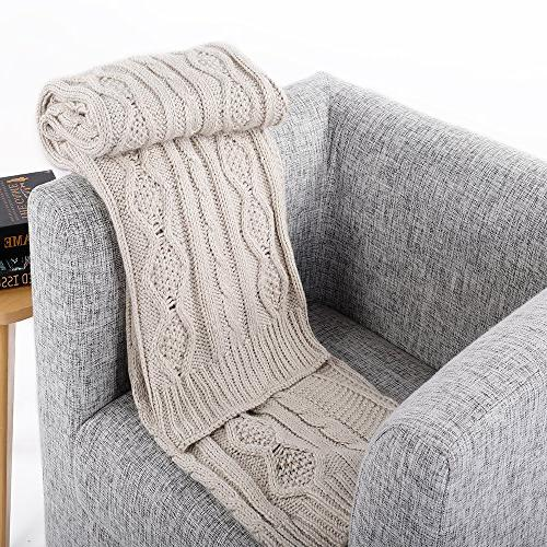 """battilo Cable Knit Sofa/Chair/Bed Throw 50"""" W 60"""" L, Light Gray"""