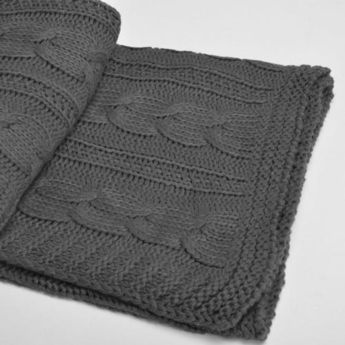 "Battilo Knit Throw Blanket, L x 50"" Grey"