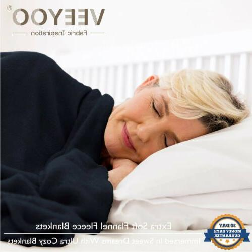 VEEYOO Flannel Fleece Blanket Plush Bed Couch
