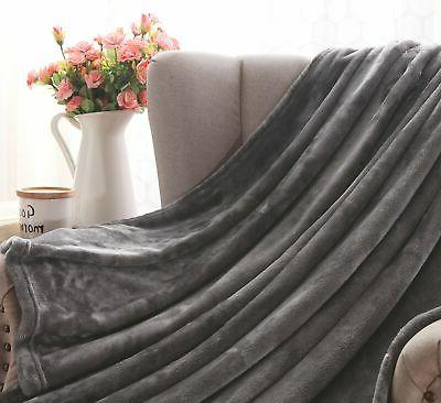 "Exclusivo Flannel Velvet Throw – 50"" x Grey"