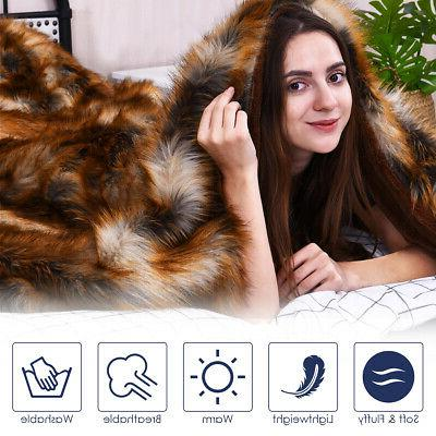 Luxury Plush Faux Fur Throw Blanket Soft Fluffy Home Bed Cou