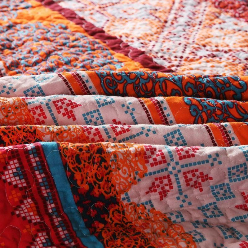 Luxury Reversible 100% Cotton Exotic Boho Stripe Throw Blanket 50