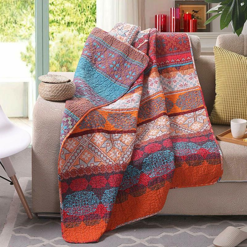 Luxury Cotton Exotic Boho Quilted Throw