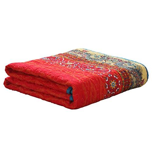 """Exclusivo Mezcla Luxury Reversible 100% Stripe Quilted Throw 60"""" Washable Dryable"""
