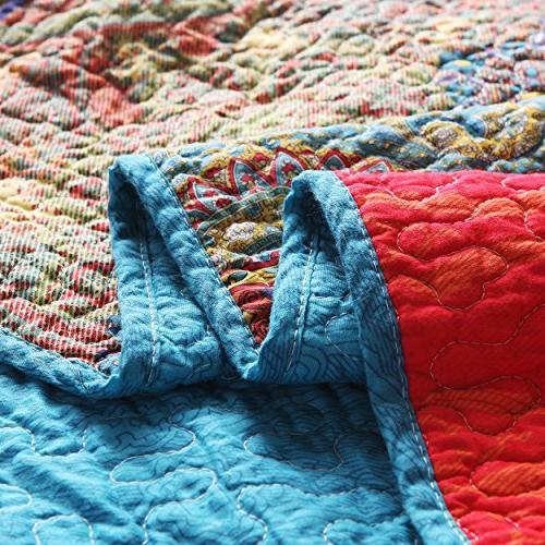 "Exclusivo Mezcla Luxury Reversible 100% Cotton Paisley Boho Stripe Quilted Blanket 60"" 50"" Washable Dryable"