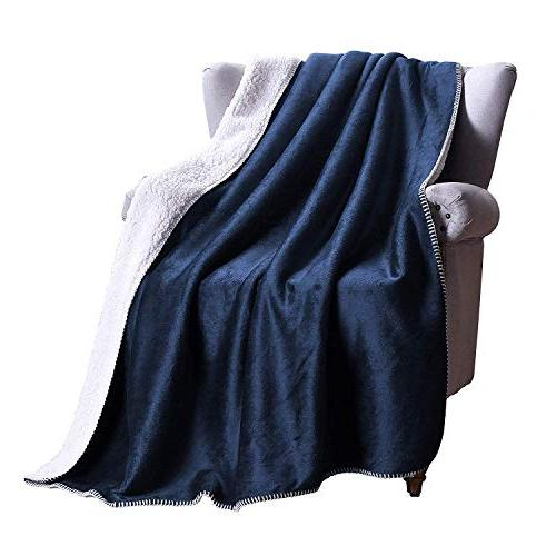 "Exclusivo 70"" Reversible Sherpa Throw Blanket - Warm, Soft and Cozy"