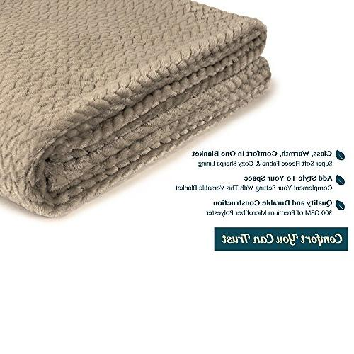 PAVILIA Luxury Soft Taupe Throw Sofa, Velvet Throw | Cozy Lightweight Microfiber, Blanket All Season Use 50 x