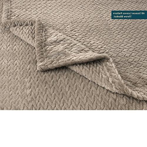 PAVILIA Soft Plush Taupe Throw Blanket for Sofa, Velvet Chevron Throw Cozy Lightweight Microfiber, All 50 x