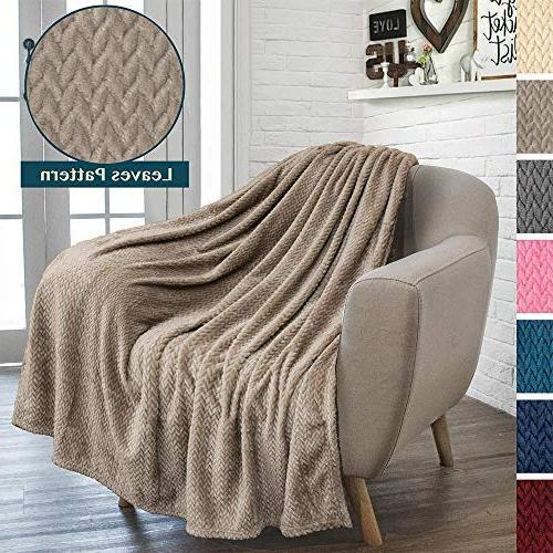 PAVILIA Soft Taupe Throw for Sofa, | Silky Velvet Fleece Chevron Throw Microfiber, Reversible | All Season Use | 50 x 60