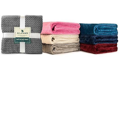 PAVILIA Luxury Soft Taupe Blanket Sofa, | Silky Velvet Chevron Throw Cozy Lightweight Microfiber, All 50 x 60 Inches