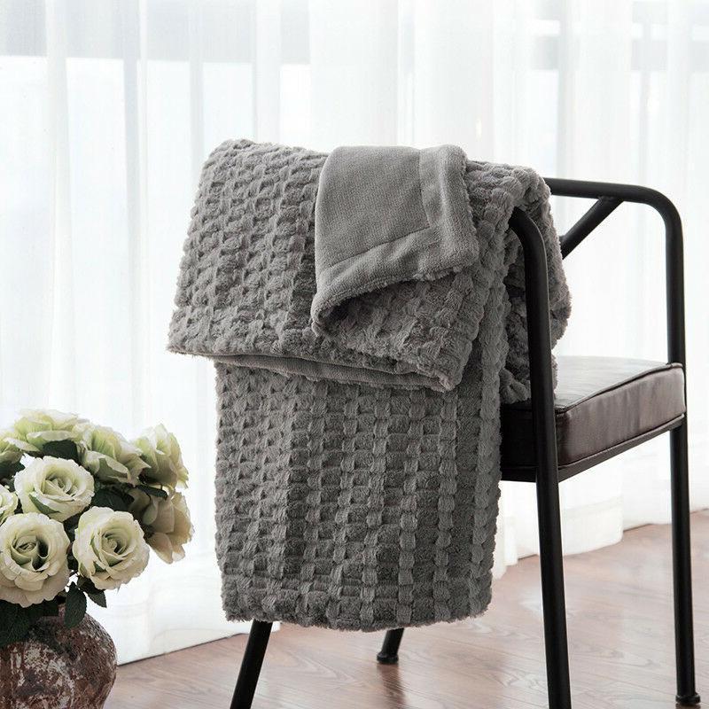 Bedsure Luxury Solid Faux Fur Blanket Super Soft Gray