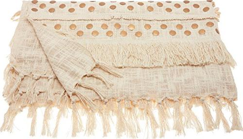 "Nourison Mina CR002 Moroccan Wedding Blanket, 50"" x 60"", Ivory"