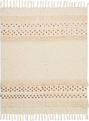 "Nourison CR002 Moroccan Blanket, 50"" Ivory"