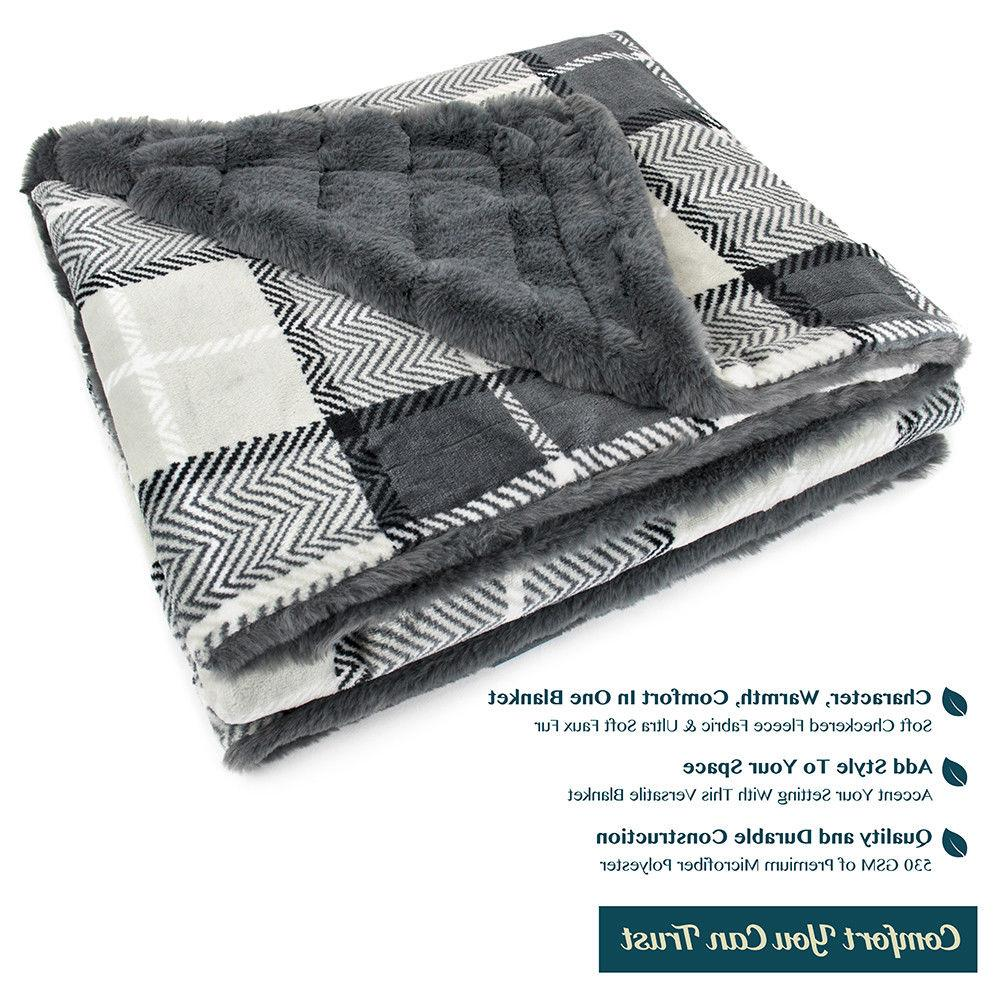 PAVILIA Minky Faux Plaid Blanket Reversible Soft 50 60