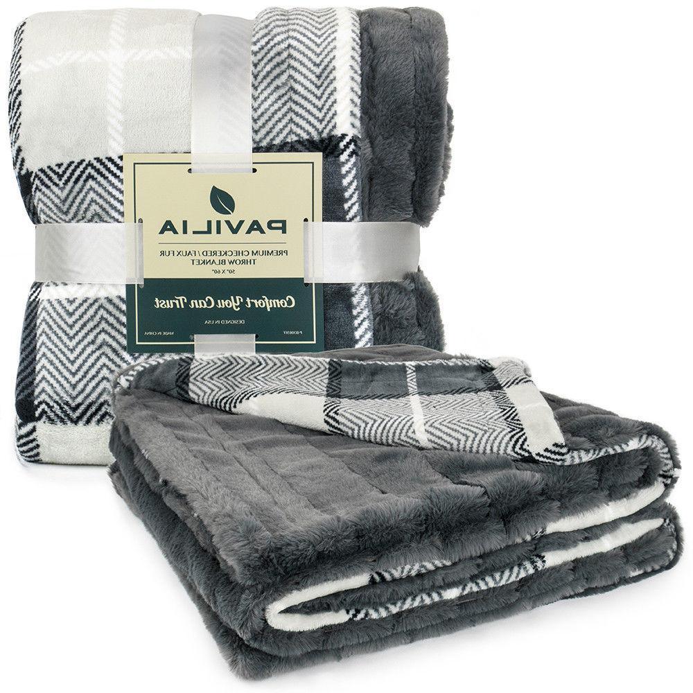 PAVILIA Faux Plaid Throw Blanket Soft Fleece 60 Inches