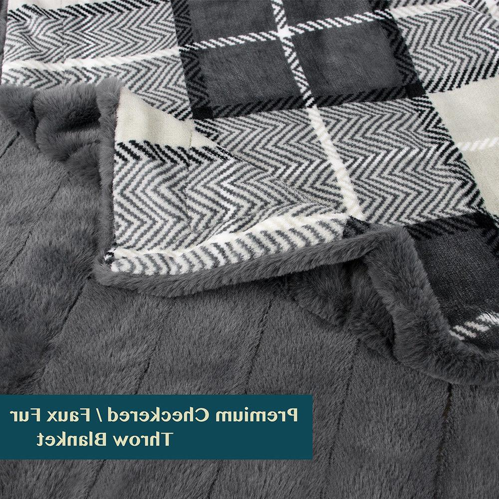 PAVILIA Minky Fur Plaid Soft 50 x 60 Inches
