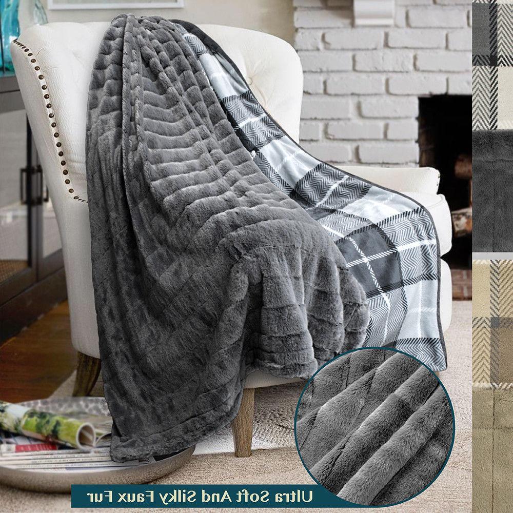 minky faux fur plaid throw blanket reversible