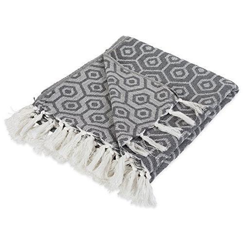 modern cotton geometric blanket throw