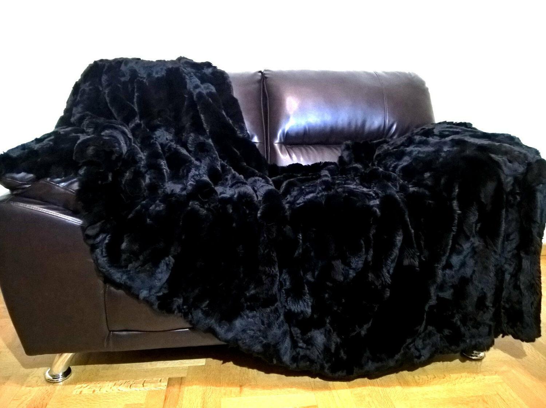 "Multipack Luxury Black Rex Rabbit Blanket Pillow 20""x"