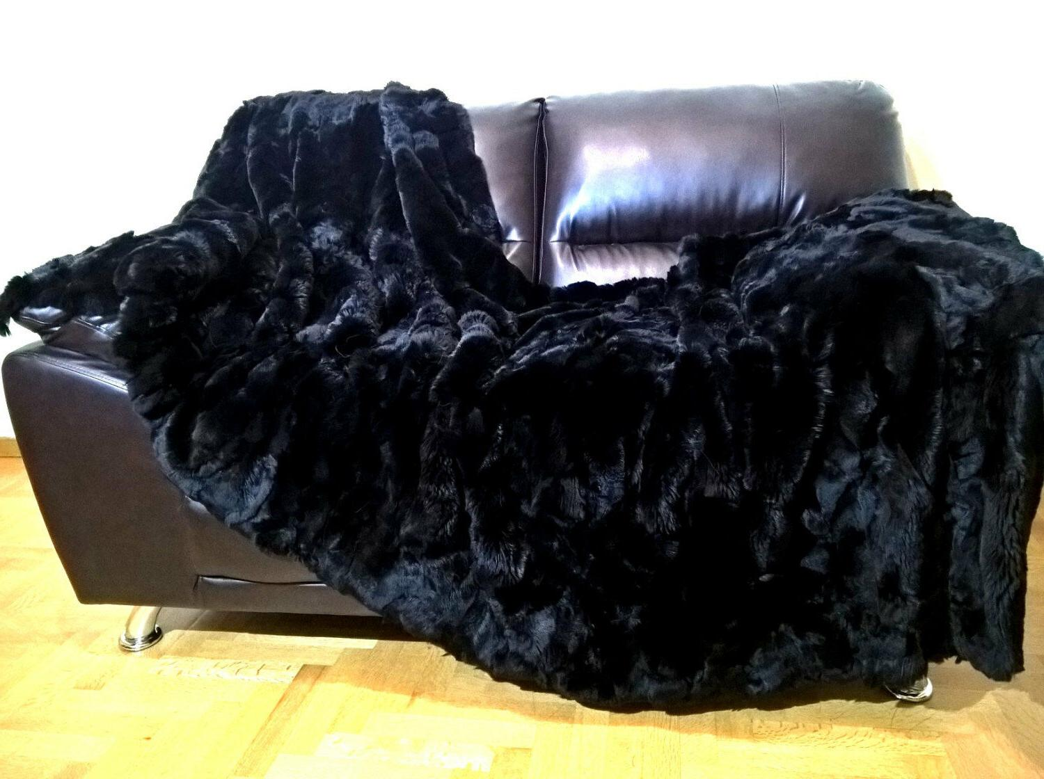 multipack luxury real black rex rabbit throw
