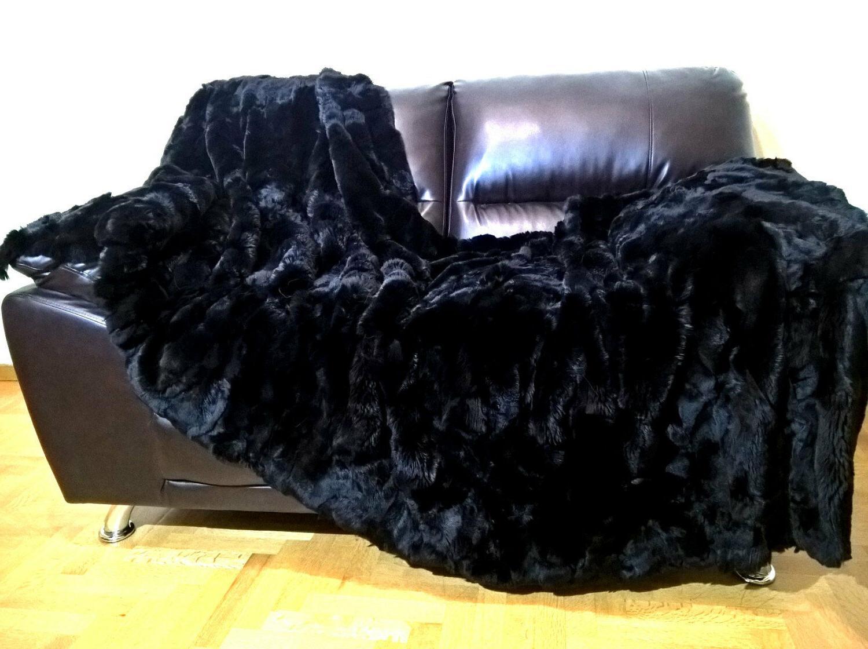 multipack luxury real black rex rabbit throw