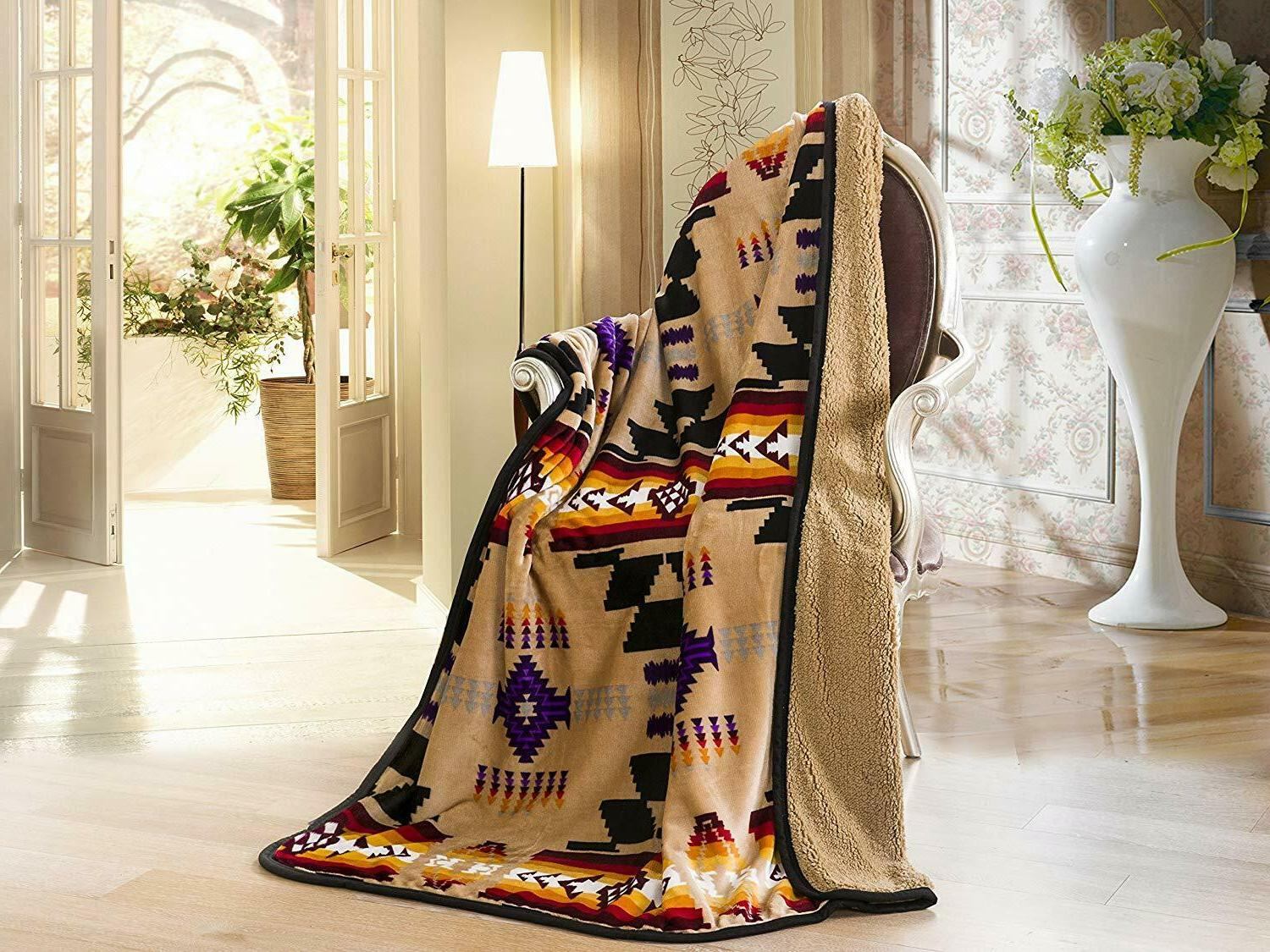 Navajo Print Throw Blanket Sherpa Southwest Native American