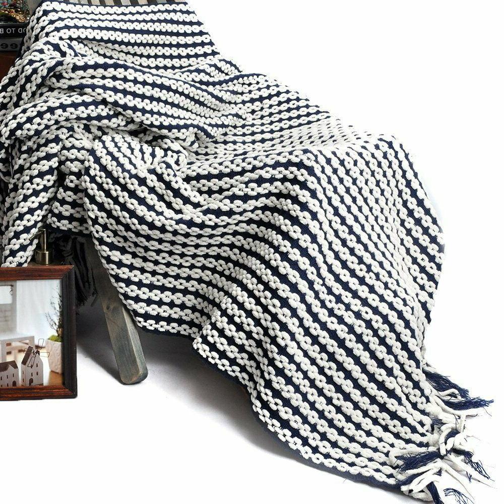 "Battilo Navy Chain Knit Fashion Throw 50"" Inc"