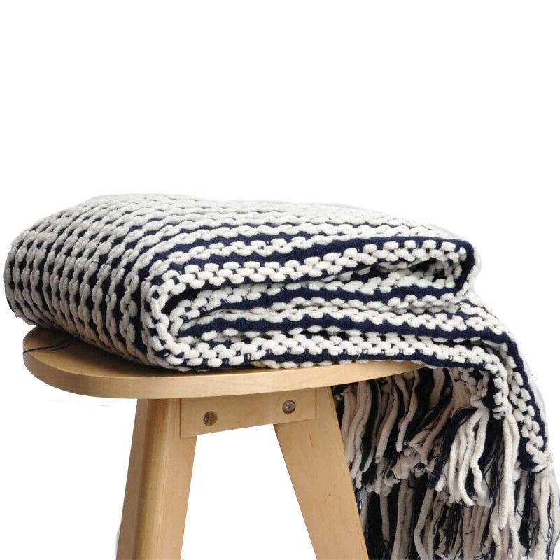 "Battilo Navy and White Chain Link Knit Fashion Throw 50"""